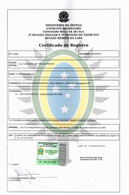 76af30e79c Liga Nacional obtém o Certificado de Registro no Exército
